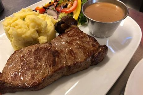 Sirloin Steak Meal with Peppercorn Sauce and Glass of Wine for Two or Four at Jist Misto