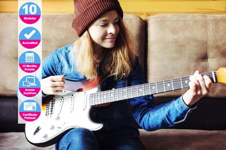 £14 (from International Open Academy) for an accredited fast track electric guitar course
