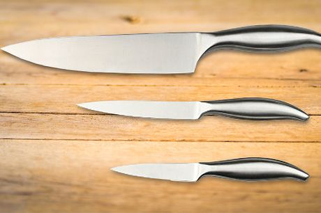 "3-Piece Pro Chef Knife Set                       8"" Chef's Knife                           5"" Utility Knife                           3.5"" Paring Knife                             Professional V-shaped blades provide supreme sharpness and gr"