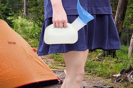 Wiederverwendbares Unisex Reise-Urinal. Unverzichtbar beim Camping, im Auto und Zuhause. Für Männer, Frauen und Kinder geeignet. 1000ml Fassungsvermögen. Inklusive 2 verschiedenen Aufsätzen. Kann im Sitzen, Liegen und Stehen verwendet werden