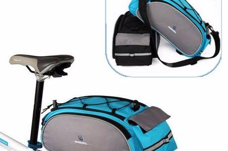Fahrrad-Gepäckträgertasche. Hippe Fahrradtasche für den Gepäckträger. Kann gleichzeitig auch als Schultertasche mit verstellbarem Gurt verwendet werden. Mit reflektierenden Streifen. In zwei Farben verfügbar