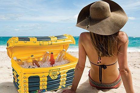 Aufblasbare Kühl-Schatztruhe. Diese aufblasbare Schatzkiste hält dein Bier bei einer Party, einem Tag am Strand oder beim Camping kalt. Leicht im Gewicht. Aus umweltfreundlichem PVC hergestellt.