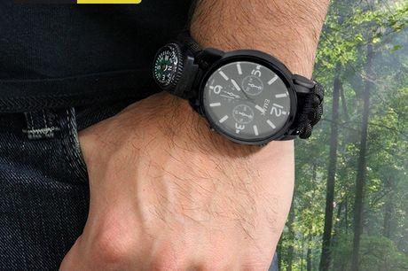 TAC Combat Emergency Watch. Armbanduhr für alle Notsituationen. Inklusive Kompass, Pfeife, Thermometer und mehr. Uhrenband aus extrem starker, multifunktionaler Fallschirmschnur. Kann bis zu 220 kg tragen! Leichtgewichtig.