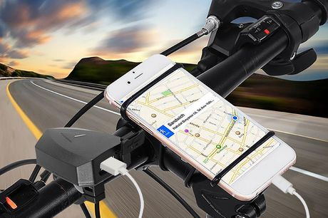 Handy-Ladegerät für Lenker. Kann jede Art von Telefon oder GPS aufladen. Versenkbarer Halter für verschiedene Größen. Perfekte Ergänzung für dein E-Bike. Das Ladegerät ist gegen Kurzschluss, Überstrom, Überspannung und Überhitzung geschützt. Der Halter ha