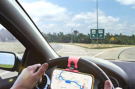 Telefonhalter für Lenkräder. Für die Sicherheit der Passagiere und den Komfort des Fahrers beim Navigieren einer Karte. Einfach zu installieren, einfach fest am Lenkrad einclipsen. Eingebettetes weiches Silikonpad zum Schutz deines Telefons vor Kratzern.