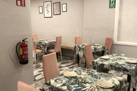 Menú para 2 o 4 con entrante, principal, postre y botella de vino o bebida desde 29,95 € en La Tomasa de Jorge Juan