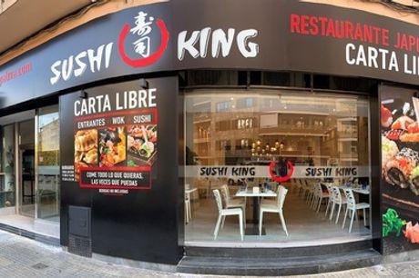 Menú de sushi para 2 con entrantes y 34 piezas de sushi en Sushi King General Riera (con 65% de descuento)