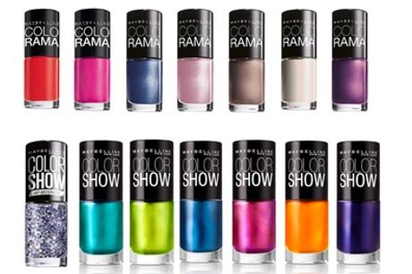 Ten Maybelline Colorama or Color Show Assorted Nail Polishes