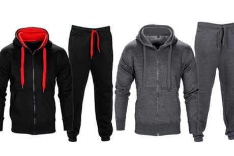Men's Fleece Tracksuit with Drawstring Hood and Waist