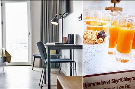 Se den skønne deal for 2 personer i Aalborg - Book et dejligt ophold på Kompas Hotel Aalborg med 2 overnatninger i Superior-værelse, cava på værelset samt lækker morgenbuffet. Værdi kr. 2485,-