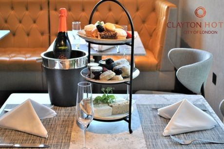 Afternoon Tea with Glass or Bottle of Prosecco for Two or Four at Clayton Hotel City of London