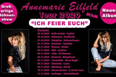 """Ticket für die Annemarie Eilfeld """"Ich feier euch""""-Tour ab Oktober u.a. in Köln, Bremen u. Nürnberg (36% sparen*)"""