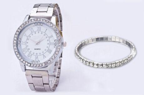 Armband en horloge gemaakt met kristallen