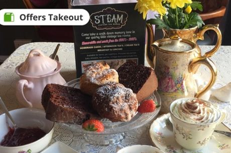 Cream Tea with Cake for Two or Four at Steam Vintage Tea Room