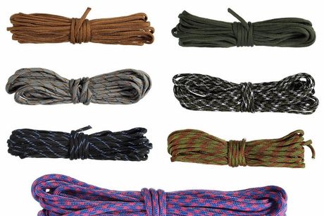 8 meters Paracord Thick Tactical Rope. High strength and wear resistant. Paracord is an important tool for outdoor survival. Suitable for winding handle, stick handle, rejection stick tail rope, nunchaku connection string, tying field equipment, tent rope