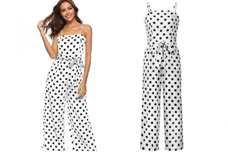 Sleeveless Polka Dot Jumpsuit - 4 Colours & 3 Sizes     Available in women's UK sizes 12, 14 and 16     This flowy jumpsuit is the ideal piece to take your through spring and summer     The fun polka dot pattern is sure to add a bright pop to your ward