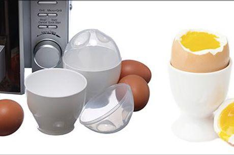 Lav lækre æg på mindre end 1 minut...  - 2 stk. Smiley-egg beholdere til mikroen, inkl. fragt, værdi kr. 199