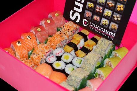 """De """"I love Urban Sushi Box"""" met 34 stuks, af te halen bij Urban Sushi Den Haag"""