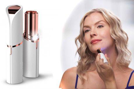Genopladelig hårfjerner i praktisk læbestift-design med indbygget LED-lys
