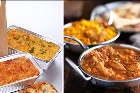 Bestil lækker indisk takeaway på Østerbro - CORONA-bekæmperen menu for 2 personer med forret, 3 hovedretter, ris, nanbrød, raita og hotsovs. Værdi kr. 740,-