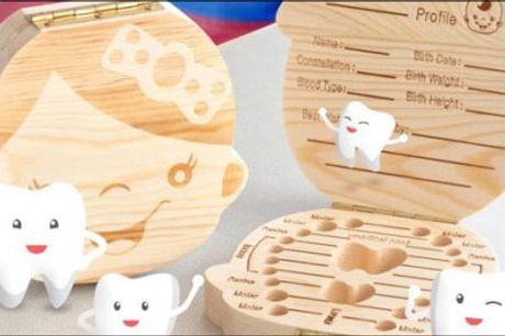 Gem minderne i denne skønne tandboks! - Køb 1 stk. Tandæske til børn forhandlet fra Nudeal, værdi kr. 199,- Vælg ml. æske til dreng eller pige.