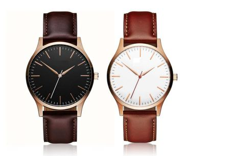 £8.99 instead of £29 (from Styled By) for a men's classic minimal leather watch – choose from dark brown or light brown strap colours! - Save 69%