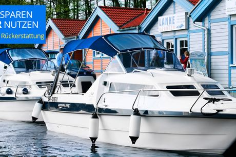 """Motorboot fahren auf der Seenplatte.  """"Freundliche Mitarbeiter, tolle Boote, gute Einweisung."""" Die Boat City im Hafendorf Rheinsberg erhält von den Travelzoo-Mitglieder absolute Bestnoten. Schippern auch Sie mit dem Boot über die Mecklenburgische Seenplat"""