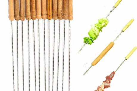 12pcs Stainless Steel Metal Barbeque Skewer Not easy to rust, in line with food hygiene standards, can be recycled.Easy to carry, it is the best choice to go out and family barbecue.