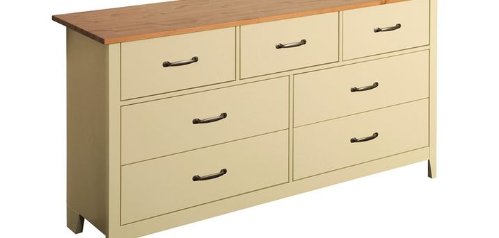 £129 (from Steens Group) for a seven-drawer Norfolk cream and oak chest