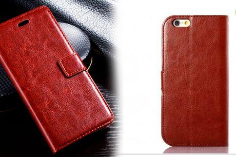 Lækkert mobilcover i læderlook med plads til kort
