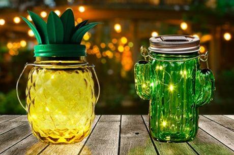 Lámparas solares decorativas en forma de cactus y piña