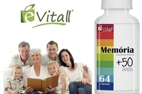 Memória +50 Anos da é-Vitall: Frasco de 64 Cápsulas por 14€. Melhor Memória, Motivação e Habilidades Motoras. PORTES INCLUÍDOS. ENVIO IMEDIATO!