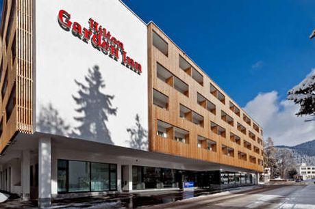 Hilton Garden Inn. Oplev Davos Inkl. halvpension - 5 overnatninger m. morgenmad - 5 x 4-retters menu - 10% rabat i Outlet Shopping Center - Gratis internet - Adgang til wellness og fitness)
