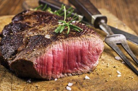 Heißer Stein Steakteller + Pommes frites, Salat & Pfefferjus für 1-4 Pers. in Brechts Steakhaus (bis34% sparen*)