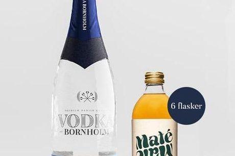 1 flaske Vodka Bornholm inkl. 6 flasker Maté Maté. Vodka er en populær og højtelsket spiritus, der kan bruges til alverdens smagfulde cocktails og til de helt særlige begivenheder. Lige så vel som mange andre former for spiritus, så kan der være stor fors