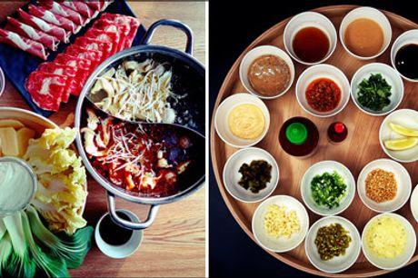 Lækker maddeal: Kinesisk Hotpot for 2 - Prøv den populære kinesiske HOTPOT til frokost eller aften, det er lækkert og super hyggeligt. I får 1 x Classic Menu for 2 personer, værdi kr. 465,-