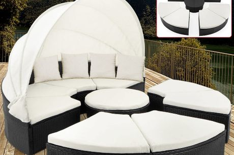 Luxury XXXL Poly Rattan Day Bed Lounger with Canopy