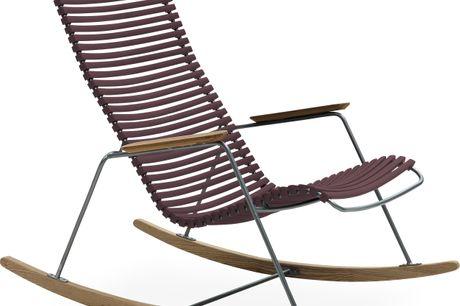 Click Havegyngestol. Havegyngestol, siddehøjde 38 cm. - Plum plastlameller fv 29, stel i stålgrå metal og bambus armlæn