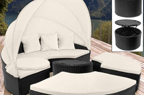 Poly Rattan Sun Day Bed with Telescopic Table and Pillows