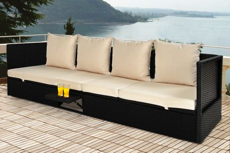Rattan 4 Seater Lounge with Reclining Chair Function and table