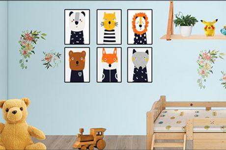 Flotte plakater med søde dyremotiver - Perfekt til børneværelset eller til dig, der elsker dyr. Du får 6 stk. plakater. Normalpris kr. 944,-