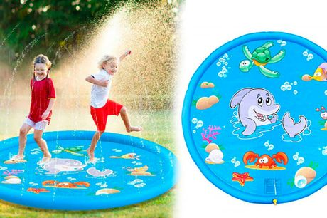 Sjov oppustelig springvandsmåtte til timevis af sjov og leg i varmen