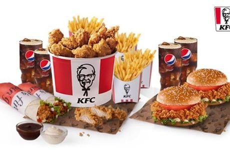 Menú 5 Alitas para 1 persona, Super Bucket para 2 personas o Family Pack para 4 personas en 80 locales KFC