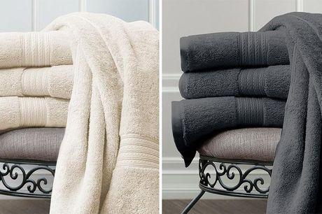 6 miljøvenlige bambushåndklæder  2 store håndklæder og 4 mindre hånd-klæder, der alle er fremstillet af 60% bambus og 40% bomuld. Fås i far-verne grå, sand, kongeblå, hvid og grøn.