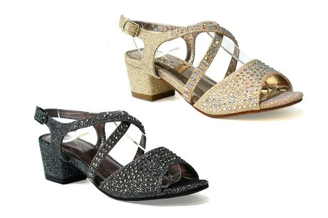 £14.99 (from Shoe Fest) for a pair of girls' diamante heeled sandals - choose from gold, pewter, platinum or silver colours!