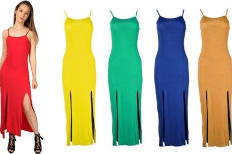 Lange jurk met splitten