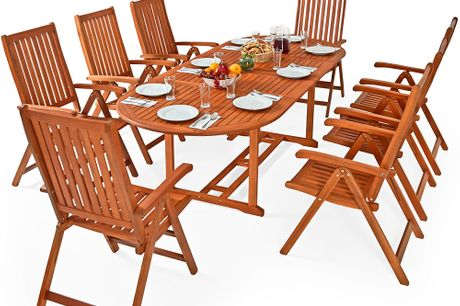 8 Seater Wooden Dining Set with Expandable Table
