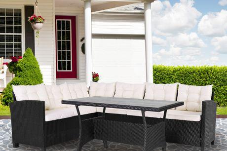 Luxury Rattan Corner Sofa Dining Set