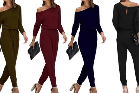 £11 instead of £29.99 for an off shoulder jumpsuit - choose from four colours from Boni Caro - save 63%