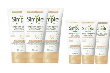 From £7.99 for three Simple clay masks or face polishes from Avant-Garde Brands Ltd - save up to 62%